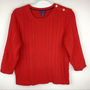 Tommy Hilfiger Cable Knit Sweater Button Shoulder